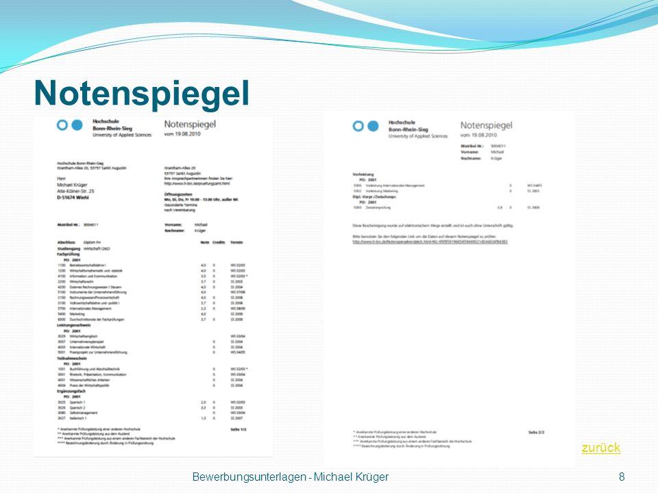 Notenspiegel zurück Bewerbungsunterlagen - Michael Krüger