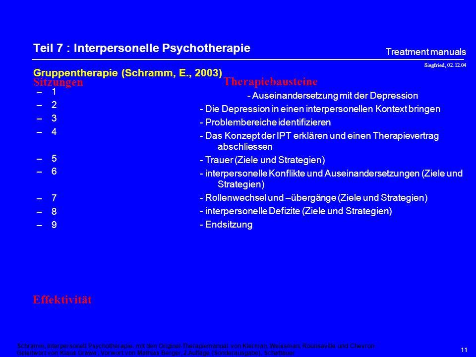 Teil 7 : Interpersonelle Psychotherapie