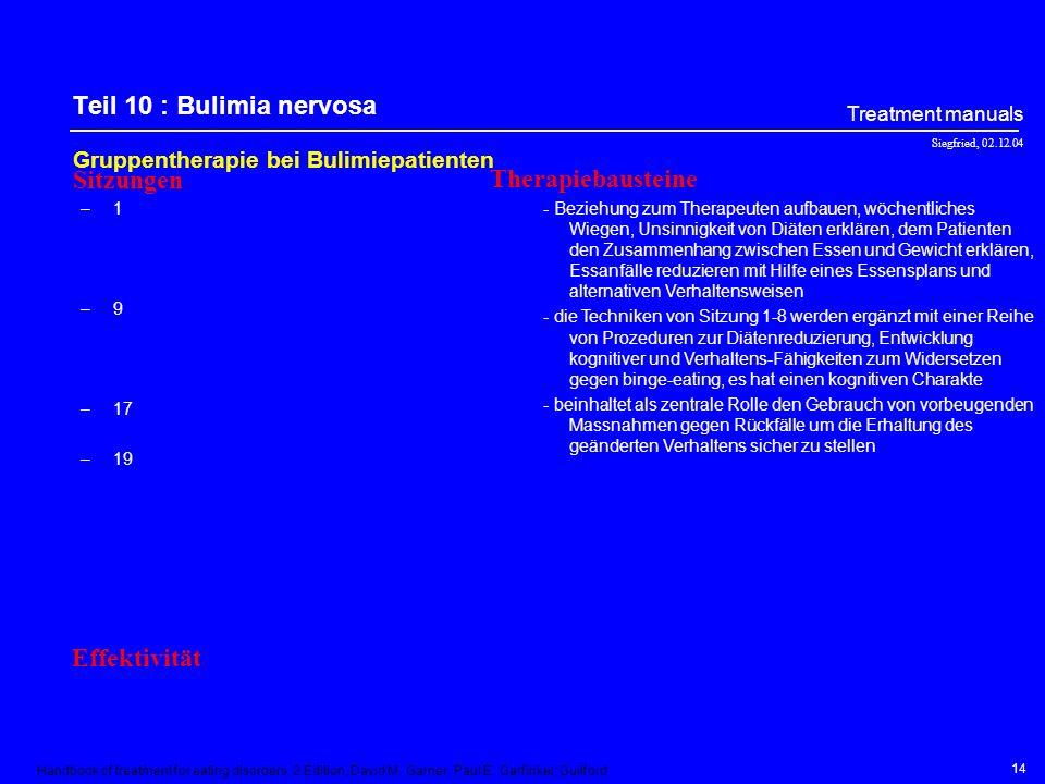Teil 10 : Bulimia nervosa Sitzungen Therapiebausteine Effektivität