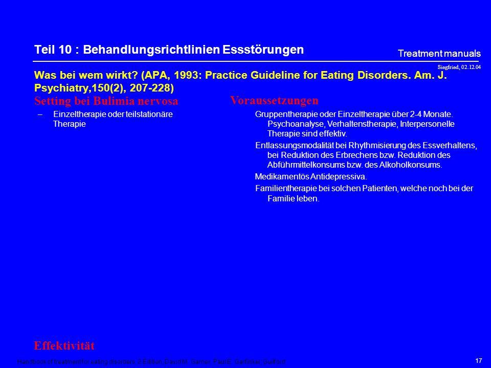 Teil 10 : Behandlungsrichtlinien Essstörungen