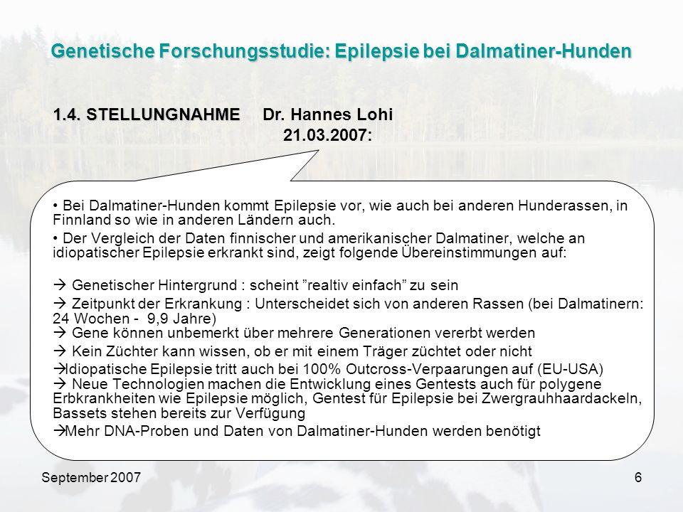 Genetische Forschungsstudie: Epilepsie bei Dalmatiner-Hunden