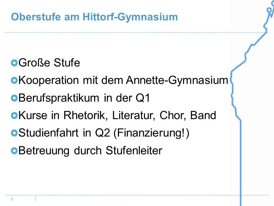 Kooperation mit dem Annette-Gymnasium Berufspraktikum in der Q1