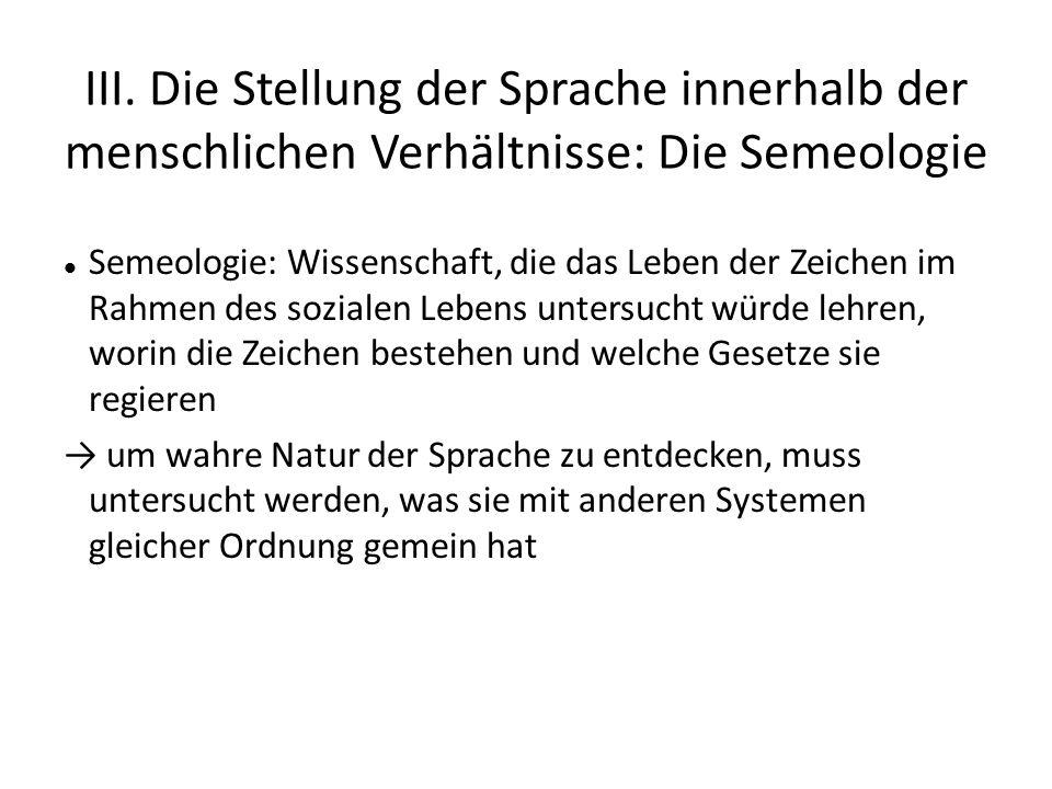 III. Die Stellung der Sprache innerhalb der menschlichen Verhältnisse: Die Semeologie