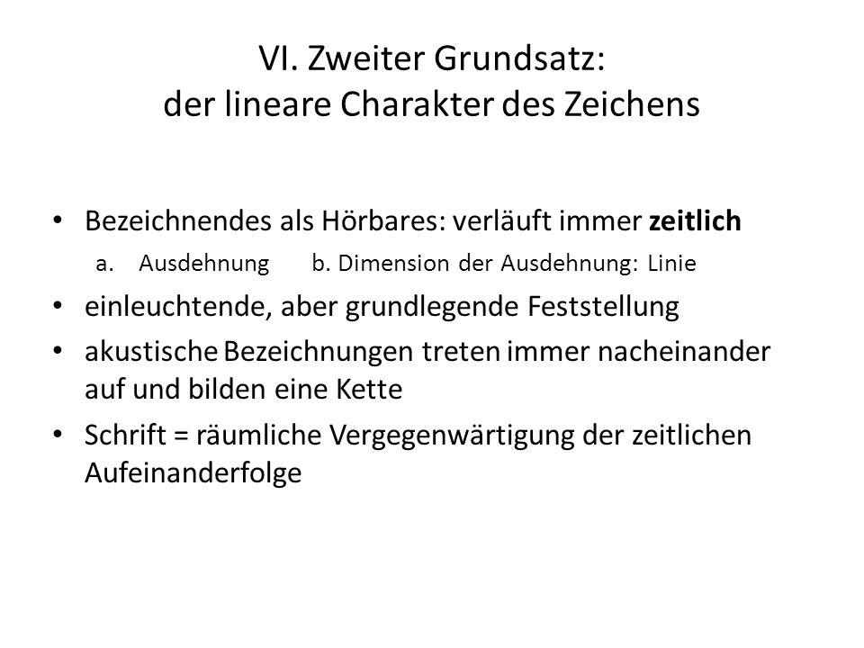 VI. Zweiter Grundsatz: der lineare Charakter des Zeichens