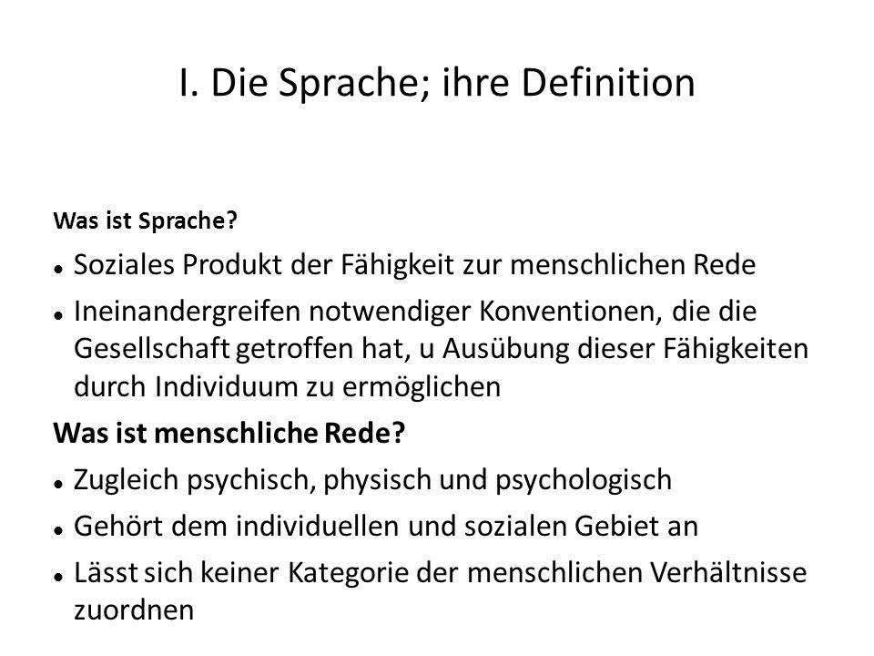 I. Die Sprache; ihre Definition