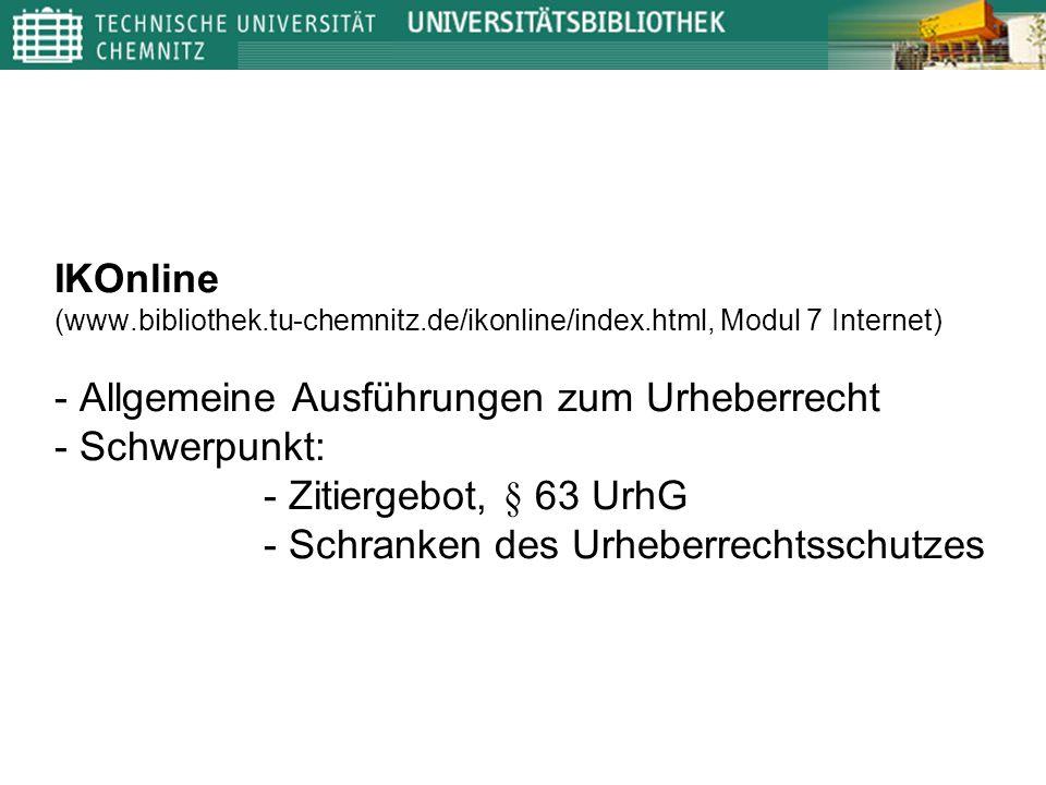 IKOnline (www. bibliothek. tu-chemnitz. de/ikonline/index
