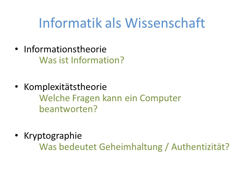 Informatik als Wissenschaft