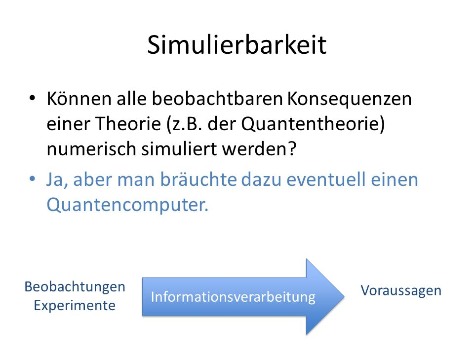 Simulierbarkeit Können alle beobachtbaren Konsequenzen einer Theorie (z.B. der Quantentheorie) numerisch simuliert werden