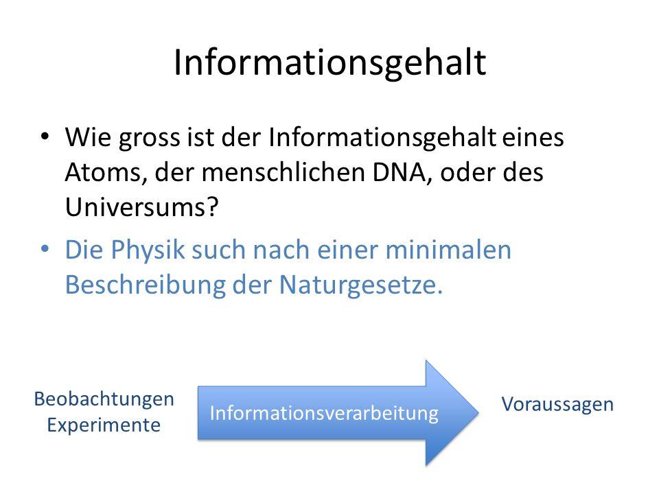 Informationsgehalt Wie gross ist der Informationsgehalt eines Atoms, der menschlichen DNA, oder des Universums