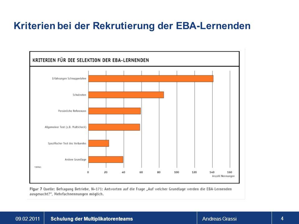 Kriterien bei der Rekrutierung der EBA-Lernenden