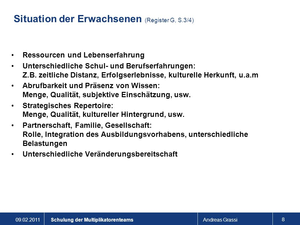Situation der Erwachsenen (Register G, S.3/4)