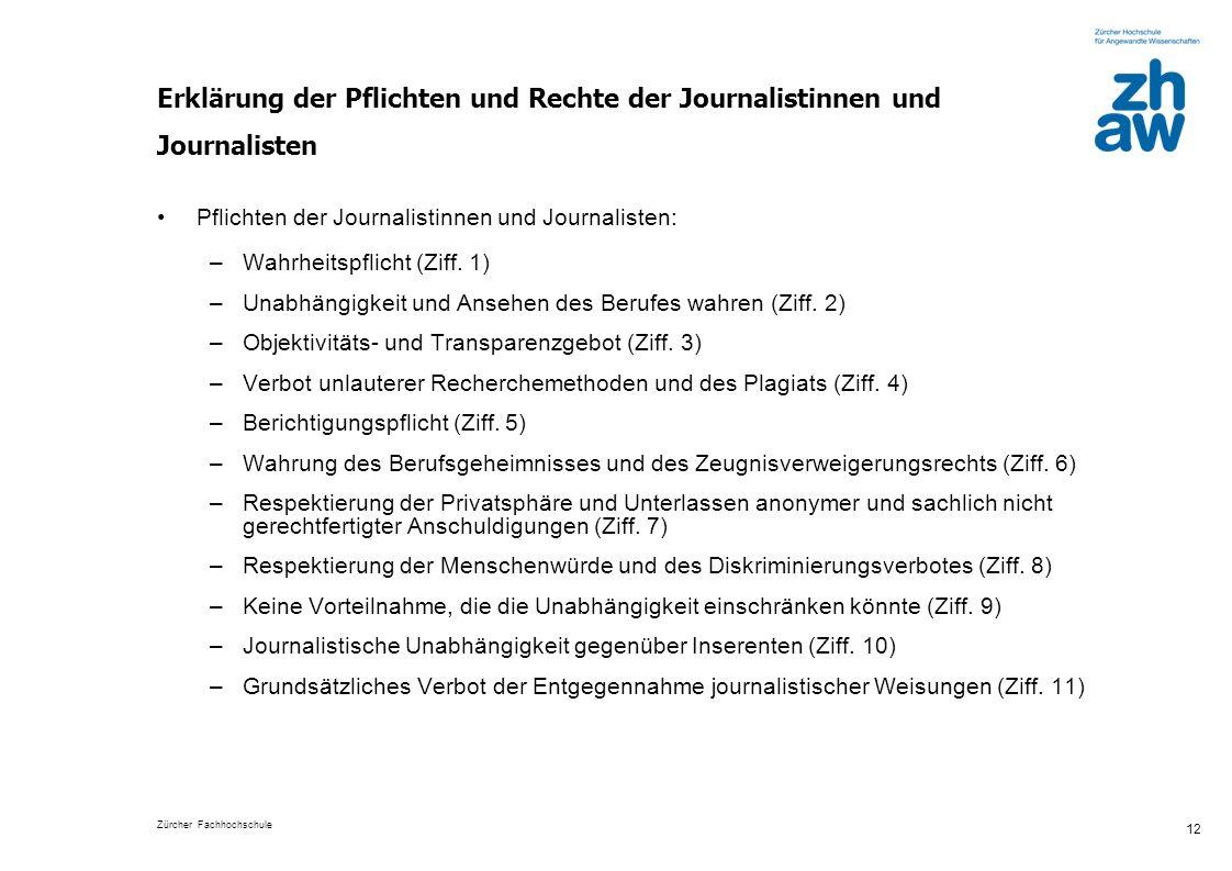 Erklärung der Pflichten und Rechte der Journalistinnen und Journalisten