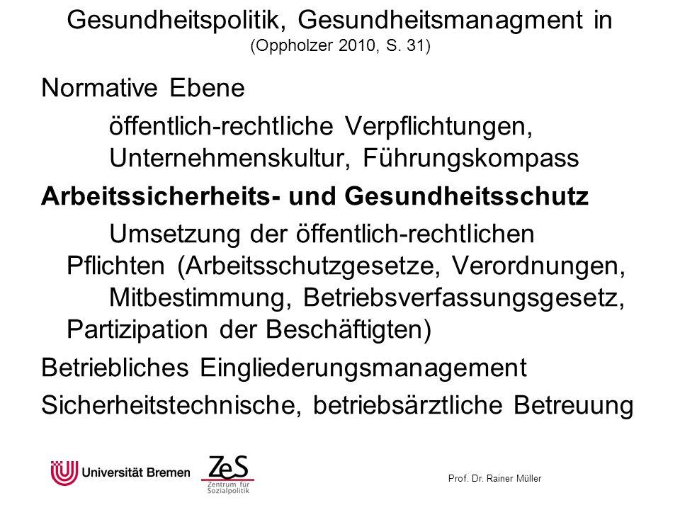Gesundheitspolitik, Gesundheitsmanagment in (Oppholzer 2010, S. 31)