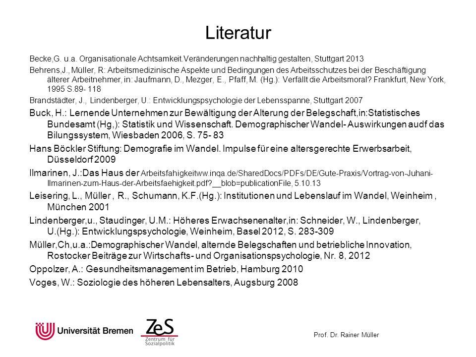 Literatur Becke,G. u.a. Organisationale Achtsamkeit.Veränderungen nachhaltig gestalten, Stuttgart 2013.