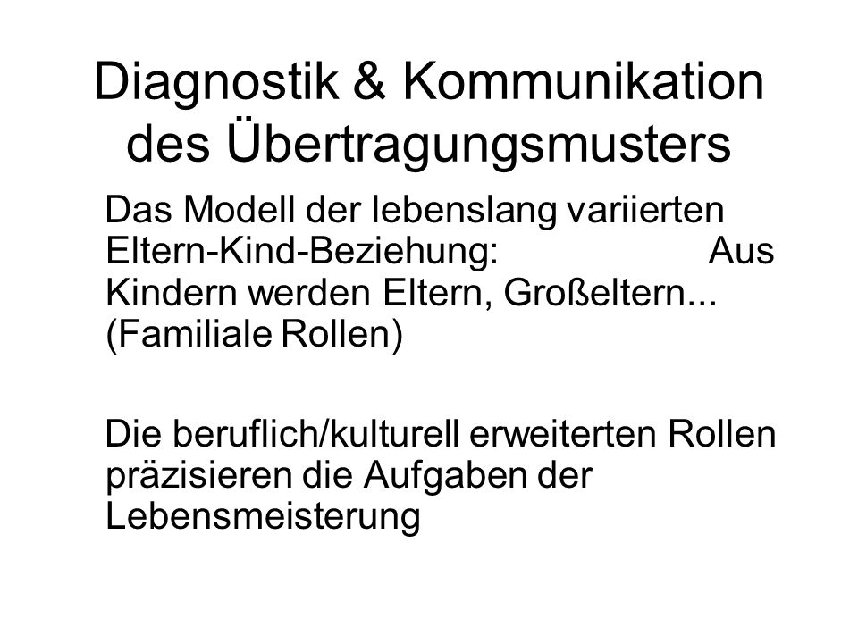 Diagnostik & Kommunikation des Übertragungsmusters
