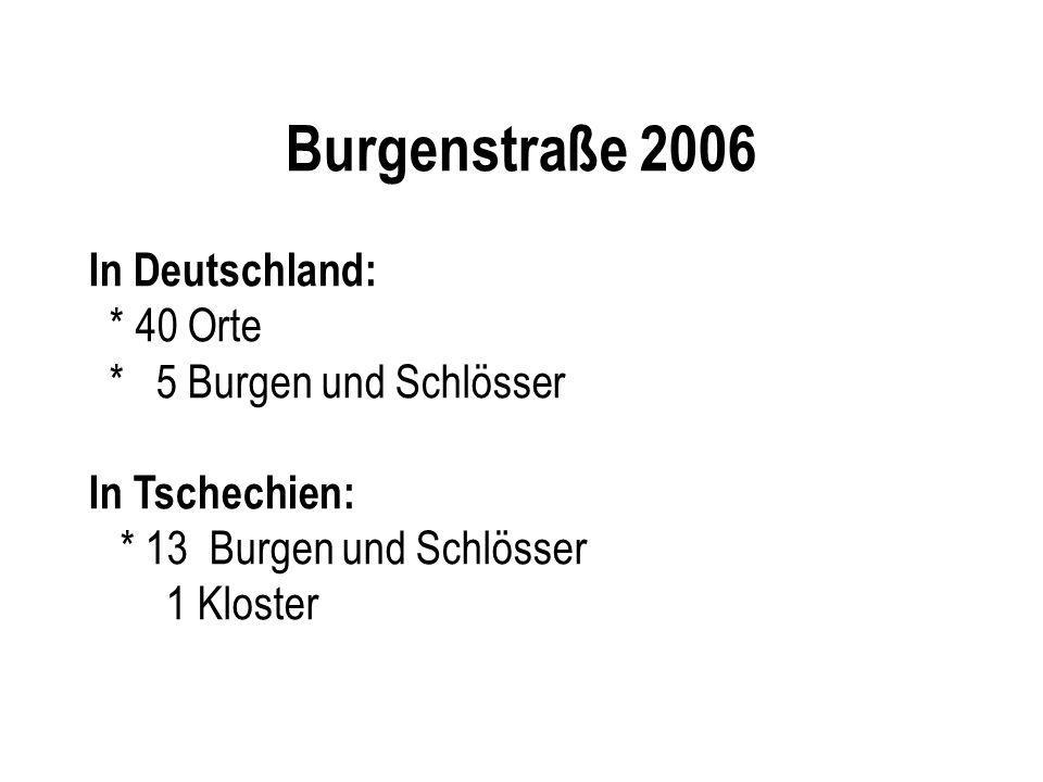 Burgenstraße 2006 In Deutschland: * 40 Orte * 5 Burgen und Schlösser