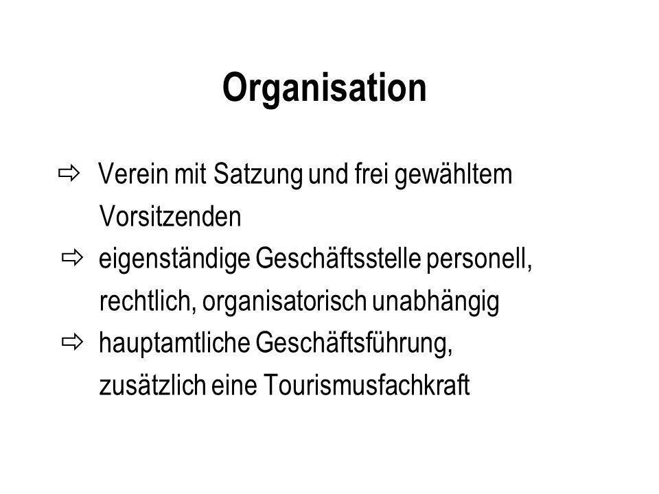 Organisation  Verein mit Satzung und frei gewähltem Vorsitzenden