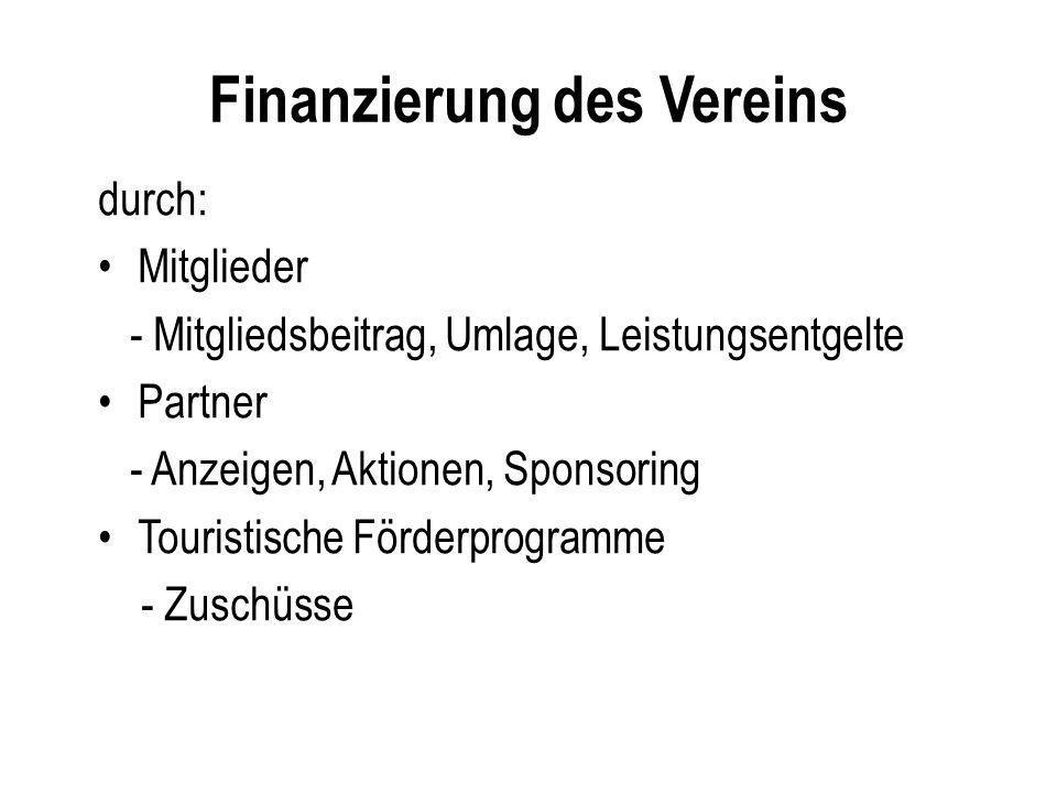 Finanzierung des Vereins