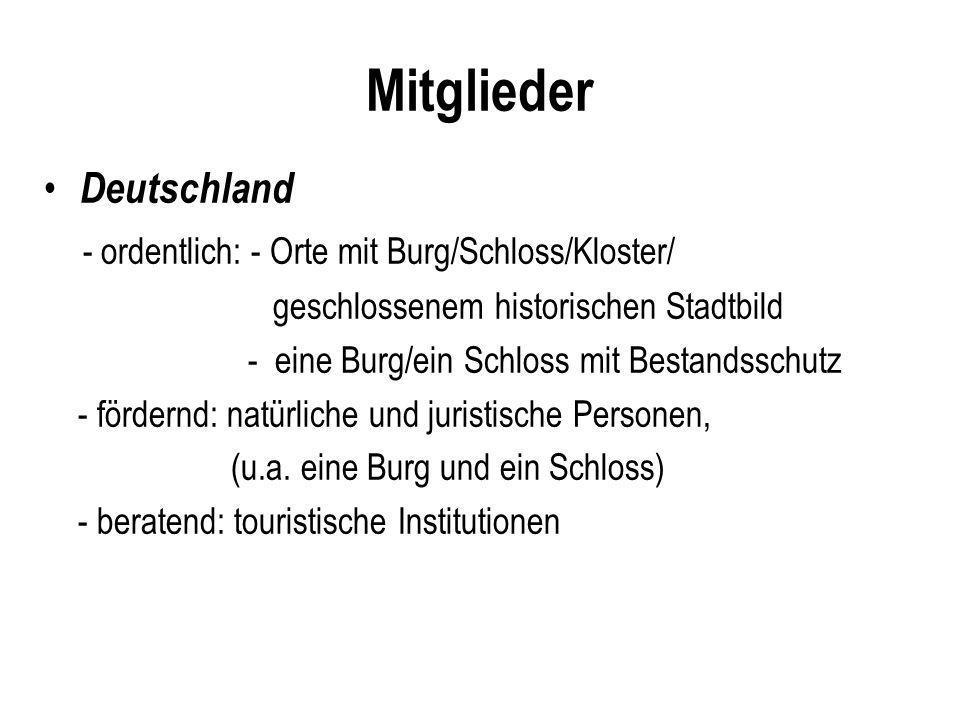Mitglieder Deutschland - ordentlich: - Orte mit Burg/Schloss/Kloster/