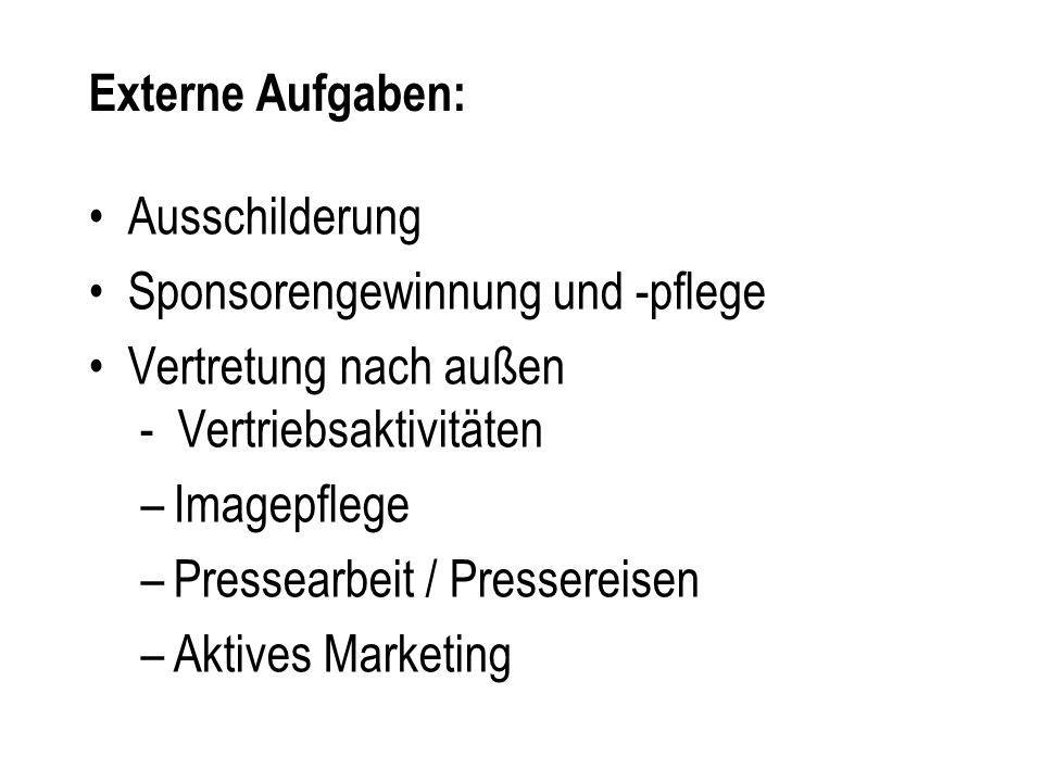 Externe Aufgaben: Ausschilderung. Sponsorengewinnung und -pflege. Vertretung nach außen - Vertriebsaktivitäten.