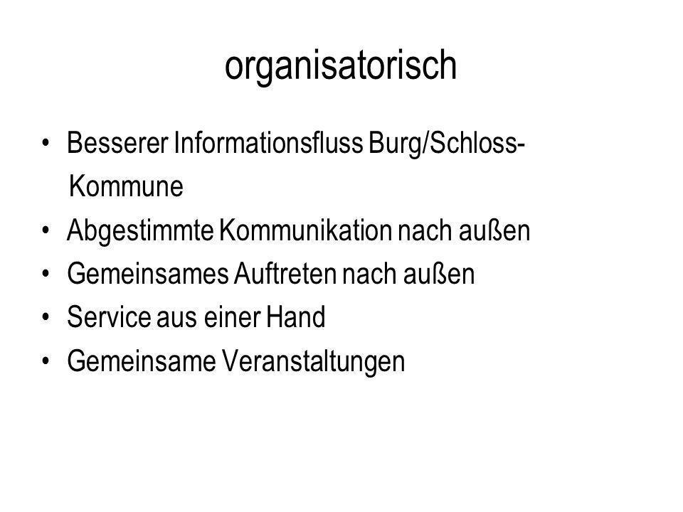 organisatorisch Besserer Informationsfluss Burg/Schloss- Kommune