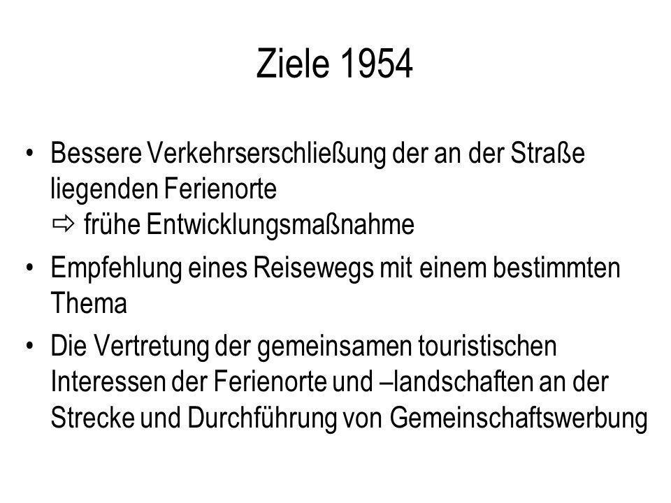 Ziele 1954 Bessere Verkehrserschließung der an der Straße liegenden Ferienorte  frühe Entwicklungsmaßnahme.