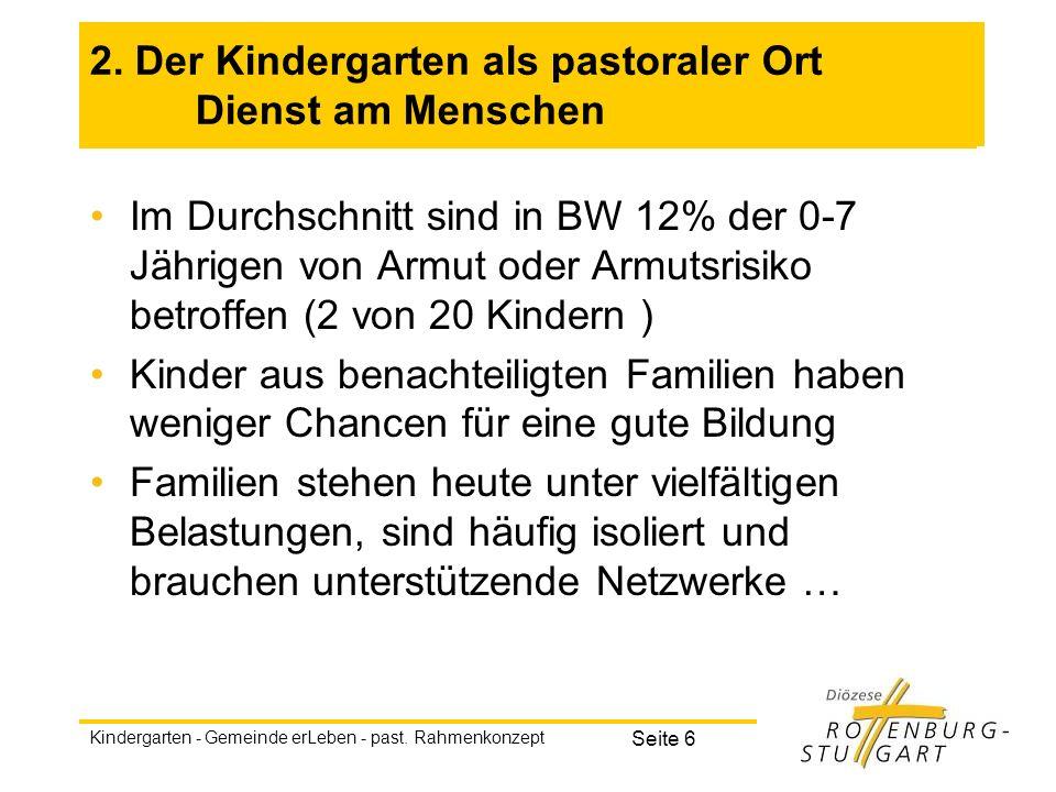 2. Der Kindergarten als pastoraler Ort Dienst am Menschen