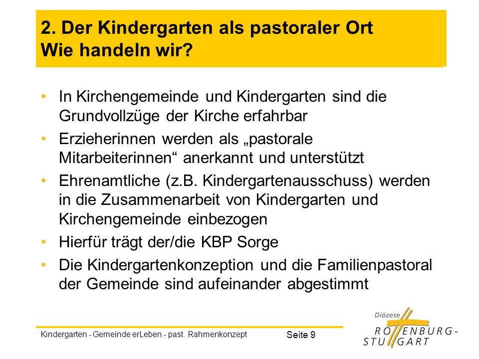 2. Der Kindergarten als pastoraler Ort Wie handeln wir