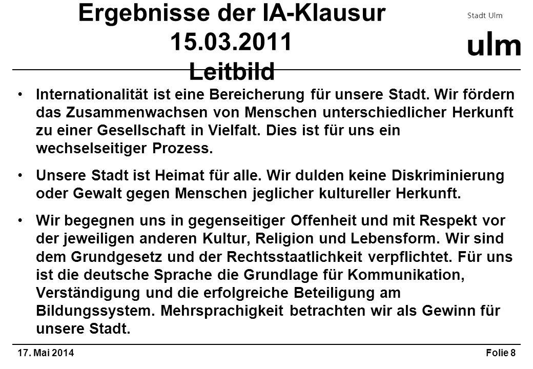Ergebnisse der IA-Klausur 15.03.2011 Leitbild