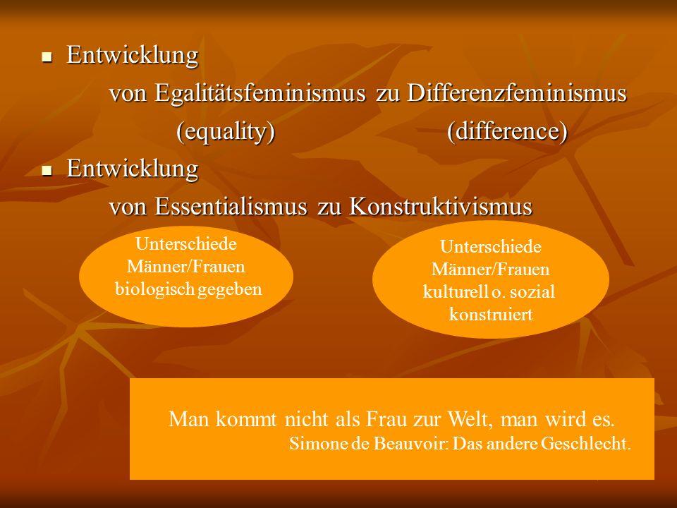 von Egalitätsfeminismus zu Differenzfeminismus (equality) (difference)
