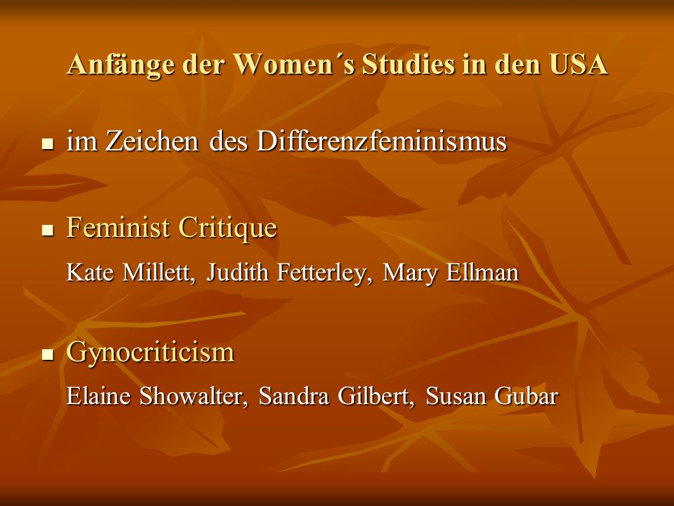 Anfänge der Women´s Studies in den USA
