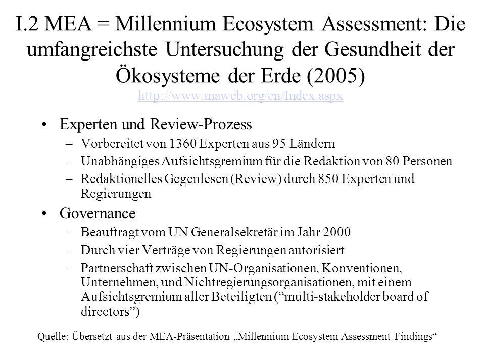 I.2 MEA = Millennium Ecosystem Assessment: Die umfangreichste Untersuchung der Gesundheit der Ökosysteme der Erde (2005) http://www.maweb.org/en/Index.aspx