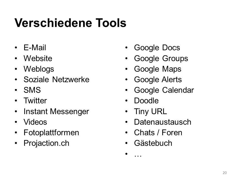 Verschiedene Tools E-Mail Website Weblogs Soziale Netzwerke SMS