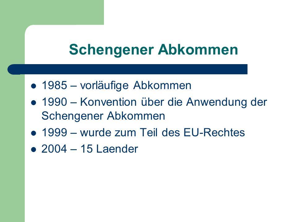 Schengener Abkommen 1985 – vorläufige Abkommen