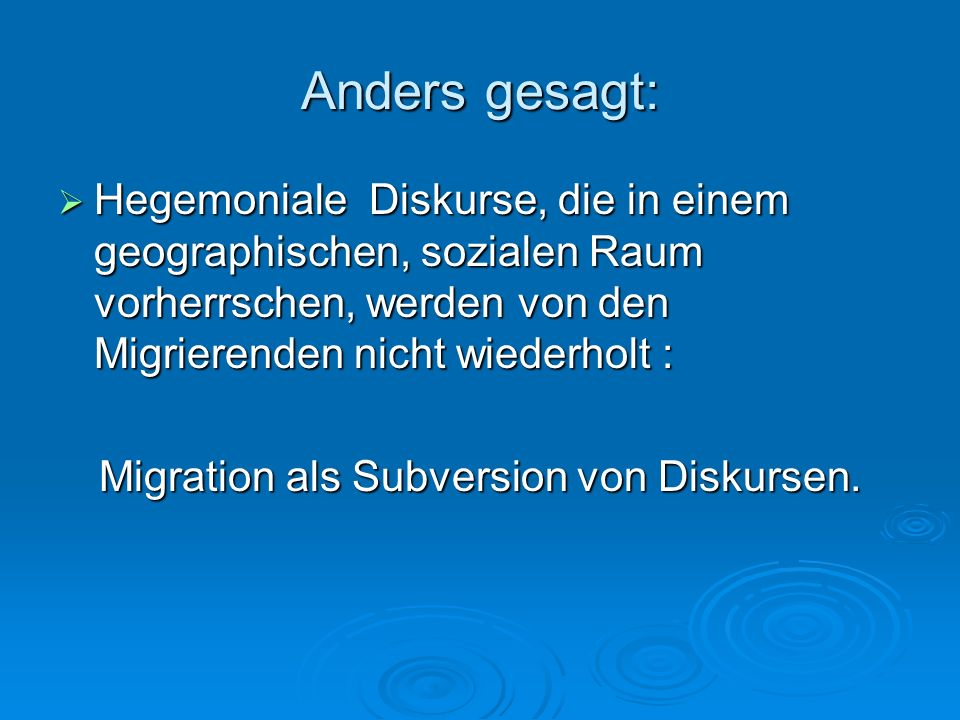 Migration als Subversion von Diskursen.