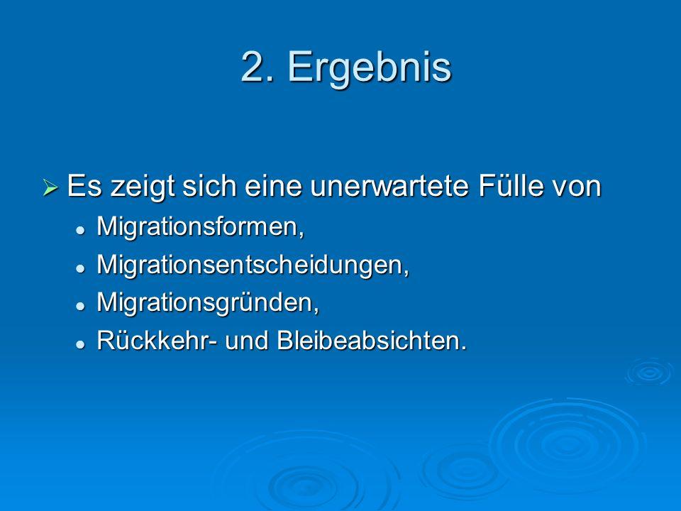 2. Ergebnis Es zeigt sich eine unerwartete Fülle von Migrationsformen,