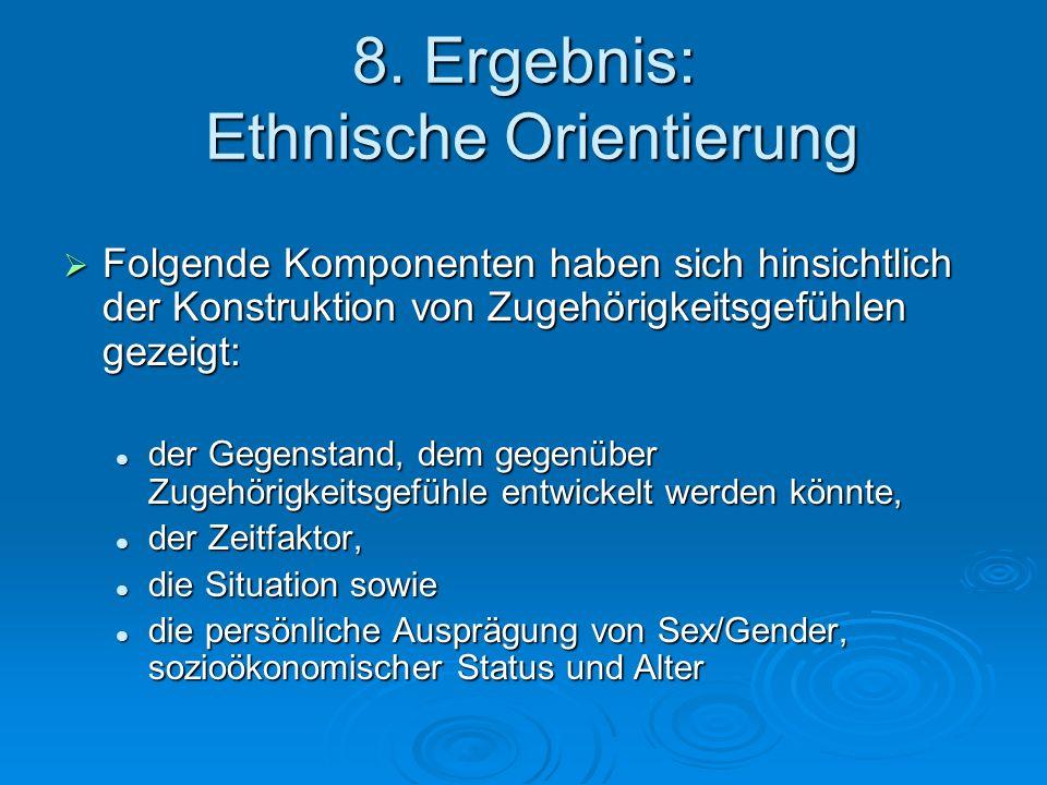 8. Ergebnis: Ethnische Orientierung