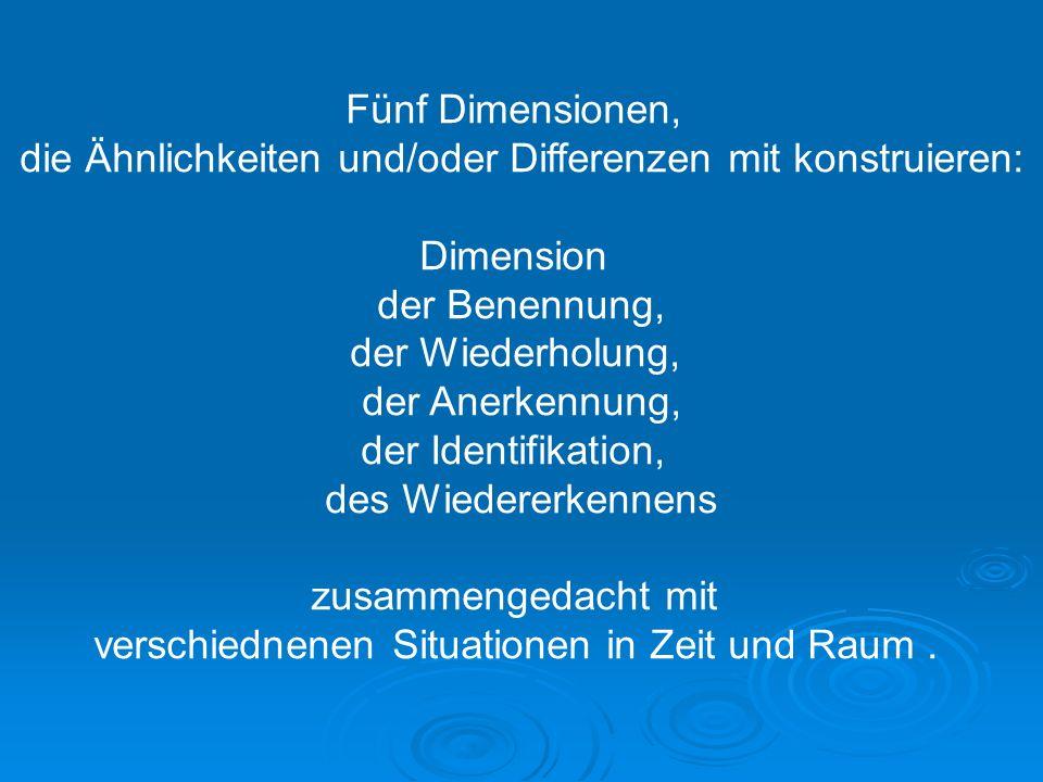 die Ähnlichkeiten und/oder Differenzen mit konstruieren: Dimension