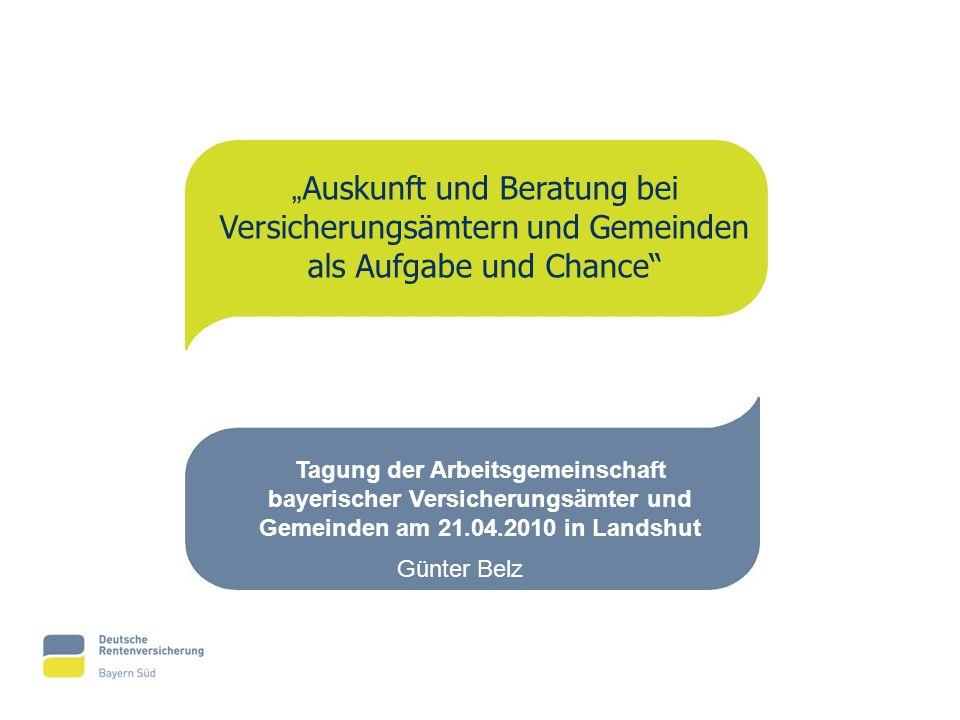 """""""Auskunft und Beratung bei Versicherungsämtern und Gemeinden als Aufgabe und Chance"""
