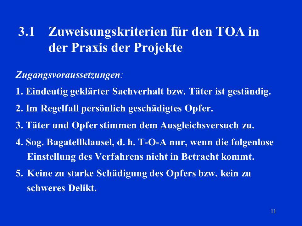 3.1 Zuweisungskriterien für den TOA in der Praxis der Projekte