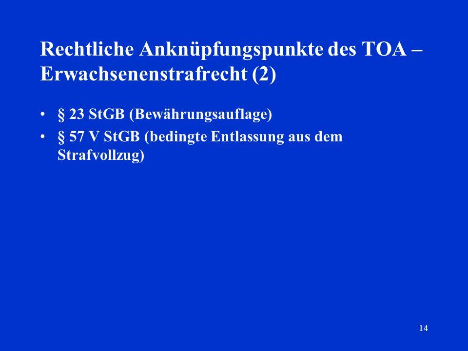 Rechtliche Anknüpfungspunkte des TOA – Erwachsenenstrafrecht (2)