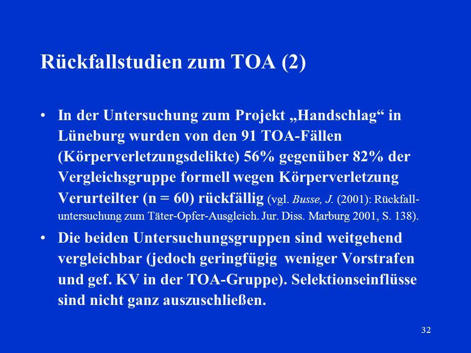 Rückfallstudien zum TOA (2)