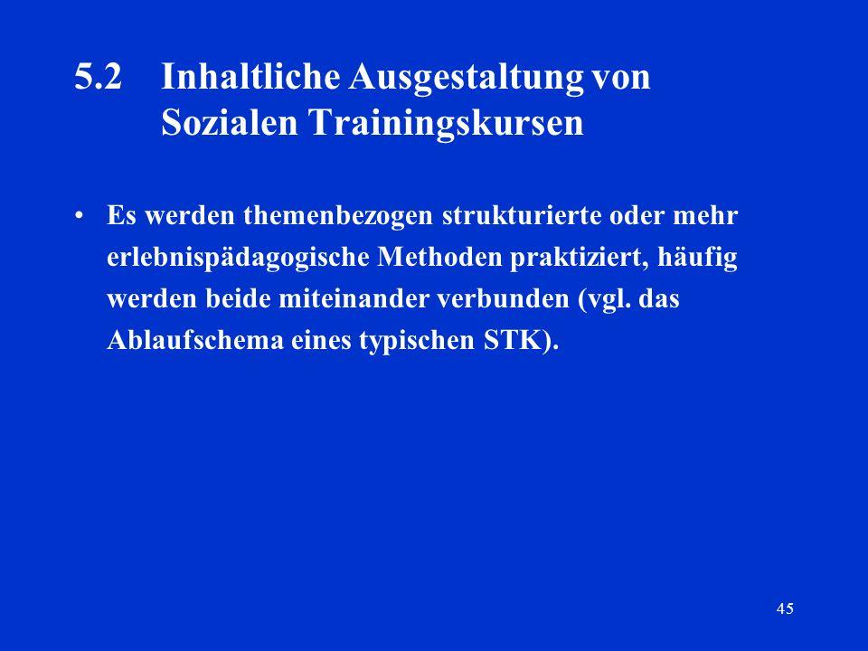 5.2 Inhaltliche Ausgestaltung von Sozialen Trainingskursen