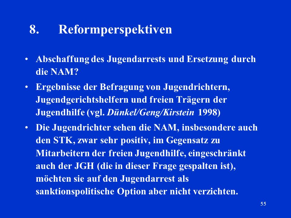 8. Reformperspektiven Abschaffung des Jugendarrests und Ersetzung durch die NAM