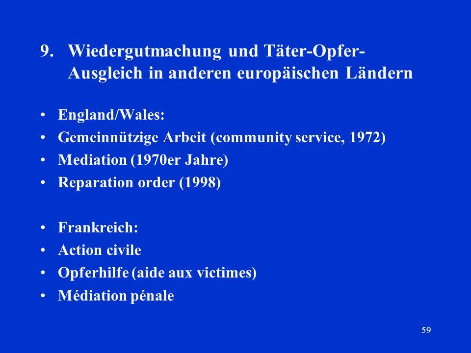 9. Wiedergutmachung und Täter-Opfer-Ausgleich in anderen europäischen Ländern