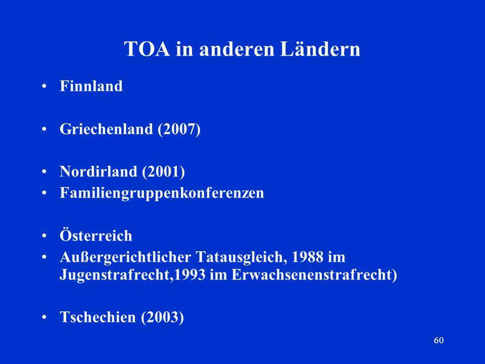 TOA in anderen Ländern Finnland Griechenland (2007) Nordirland (2001)