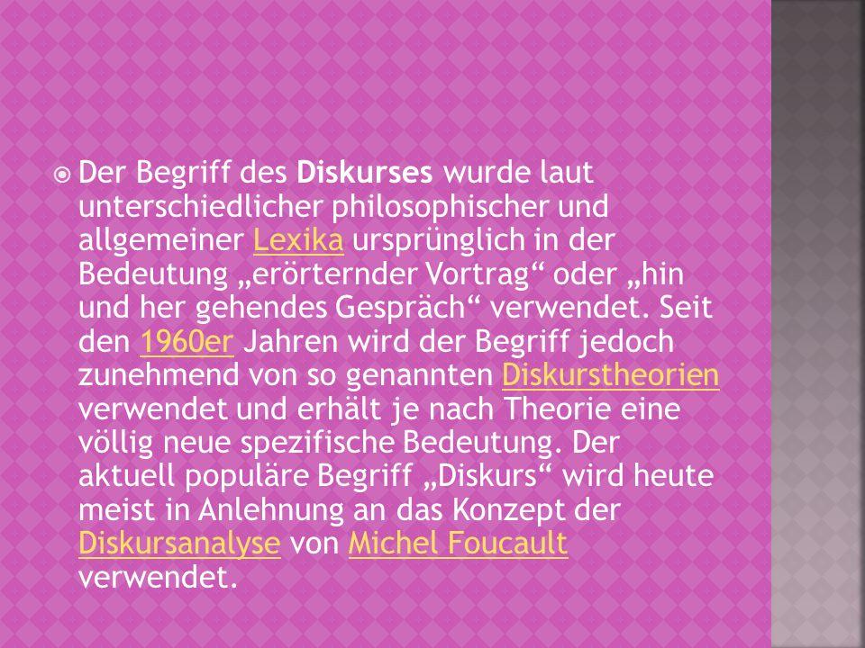 """Der Begriff des Diskurses wurde laut unterschiedlicher philosophischer und allgemeiner Lexika ursprünglich in der Bedeutung """"erörternder Vortrag oder """"hin und her gehendes Gespräch verwendet."""