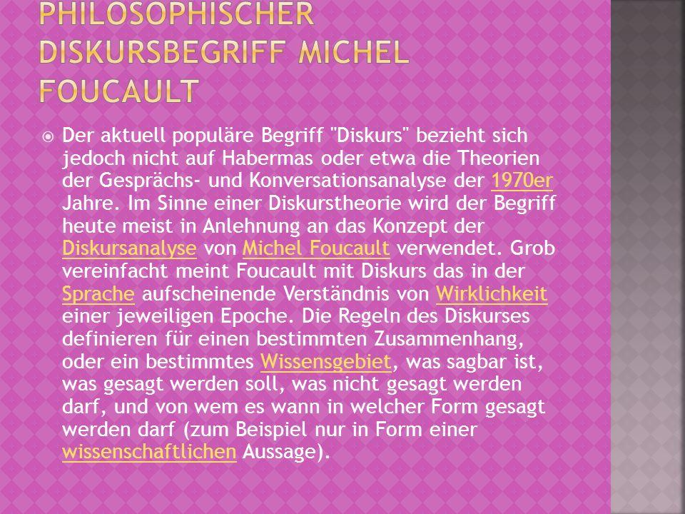 Philosophischer Diskursbegriff Michel Foucault