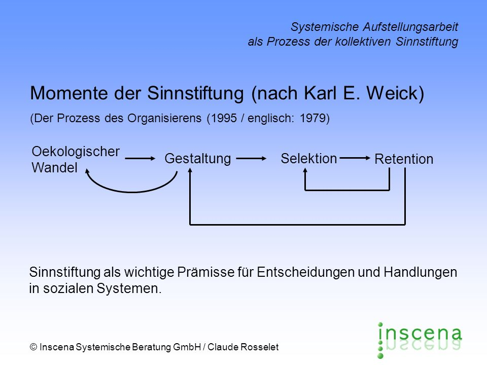 Momente der Sinnstiftung (nach Karl E. Weick)