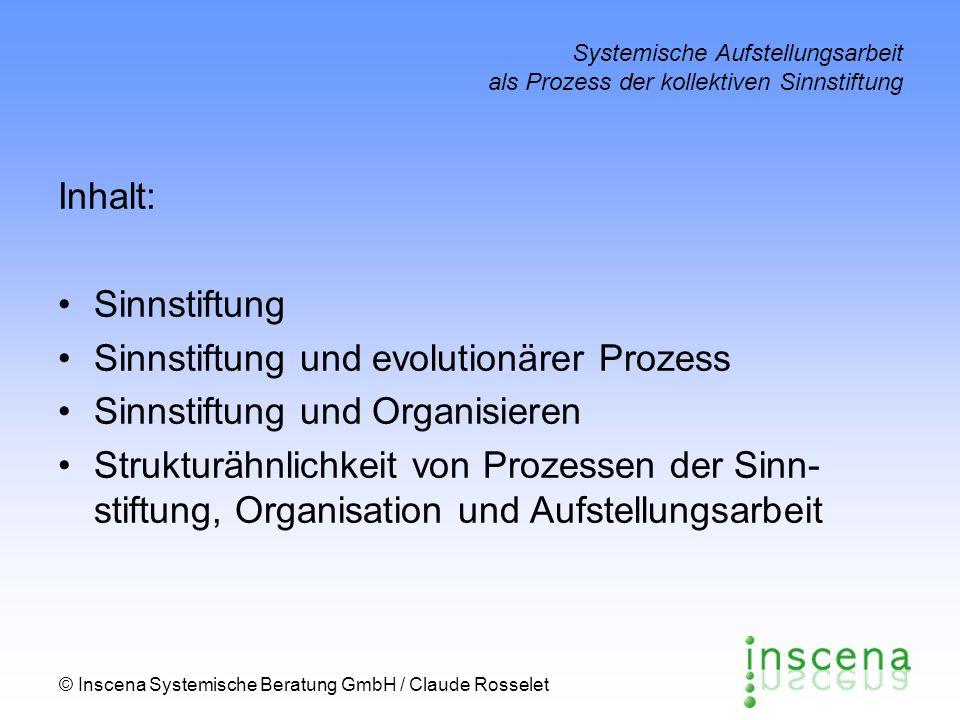 Sinnstiftung und evolutionärer Prozess Sinnstiftung und Organisieren